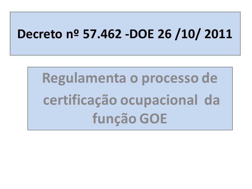 Regulamenta o processo de certificação ocupacional da função GOE