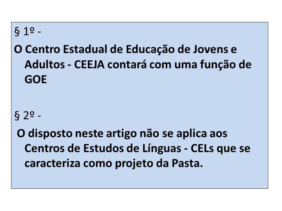 § 1º - O Centro Estadual de Educação de Jovens e Adultos - CEEJA contará com uma função de GOE. § 2º -