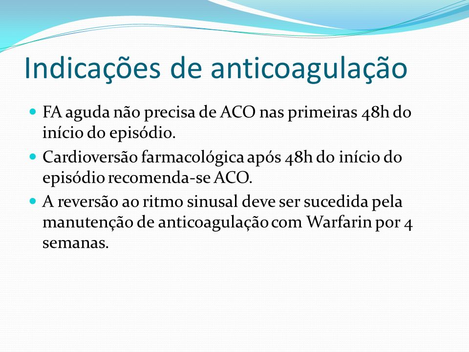 Indicações de anticoagulação