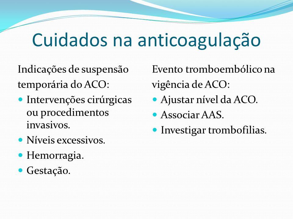 Cuidados na anticoagulação