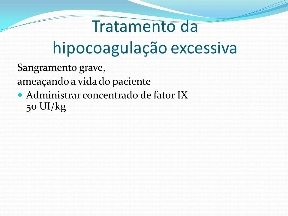 Tratamento da hipocoagulação excessiva