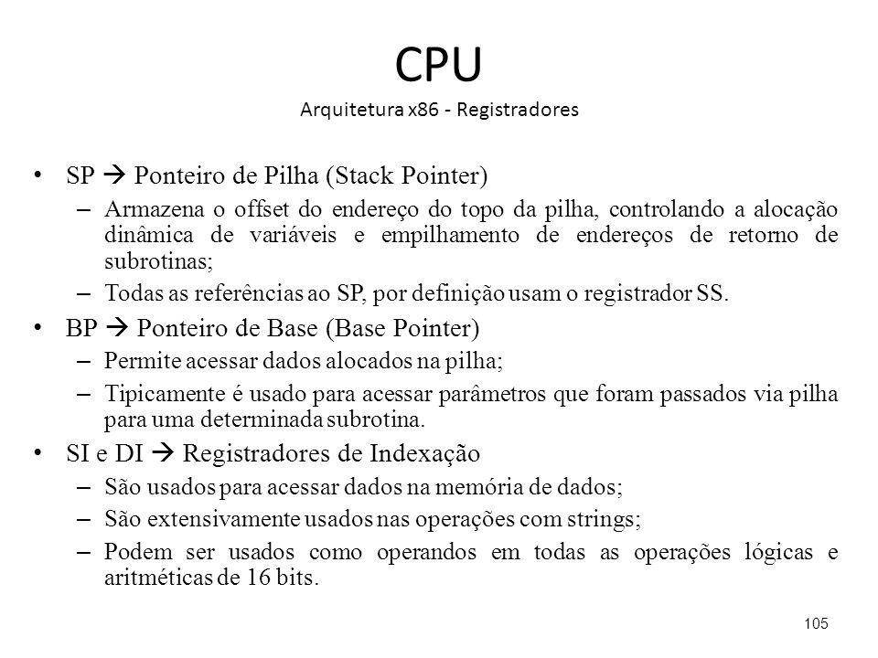 CPU Arquitetura x86 - Registradores