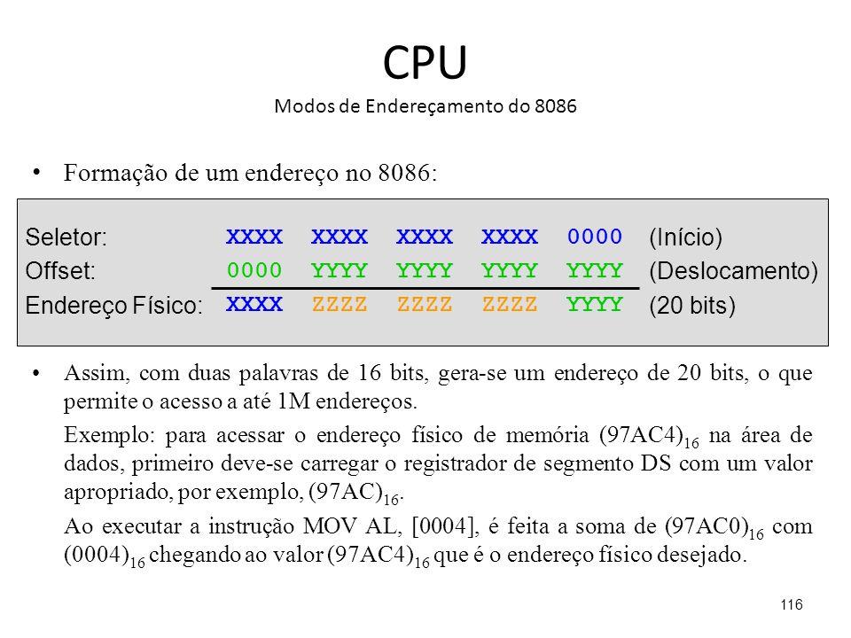 CPU Modos de Endereçamento do 8086