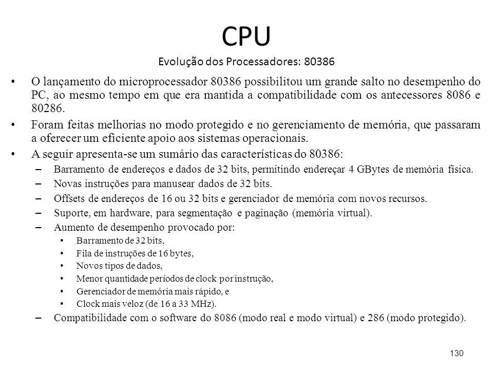 CPU Evolução dos Processadores: 80386