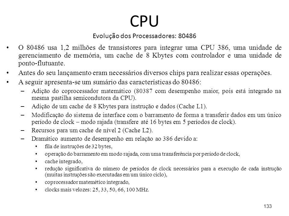 CPU Evolução dos Processadores: 80486