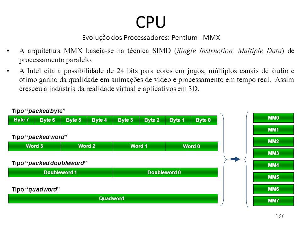 CPU Evolução dos Processadores: Pentium - MMX
