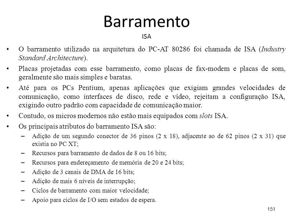 Barramento ISA O barramento utilizado na arquitetura do PC-AT 80286 foi chamada de ISA (Industry Standard Architecture).