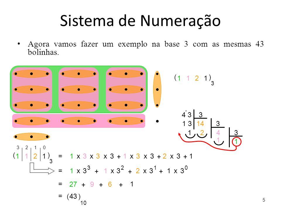 Sistema de Numeração Agora vamos fazer um exemplo na base 3 com as mesmas 43 bolinhas. ( 1. 1. 2.