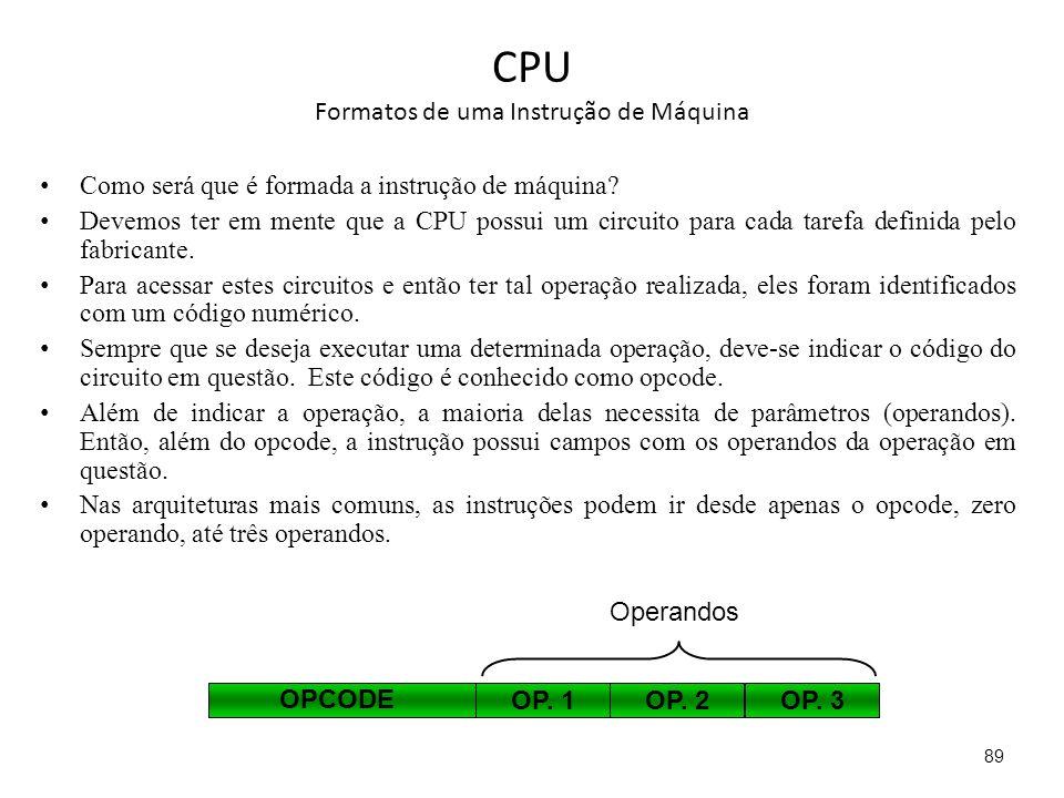 CPU Formatos de uma Instrução de Máquina