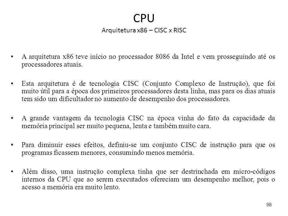 CPU Arquitetura x86 – CISC x RISC