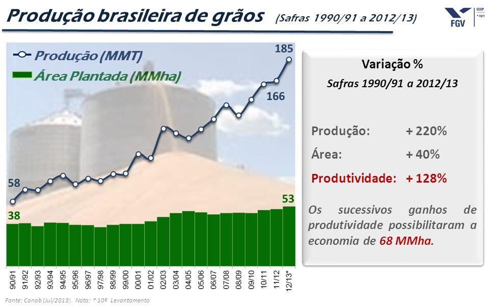 Produção brasileira de grãos (Safras 1990/91 a 2012/13)