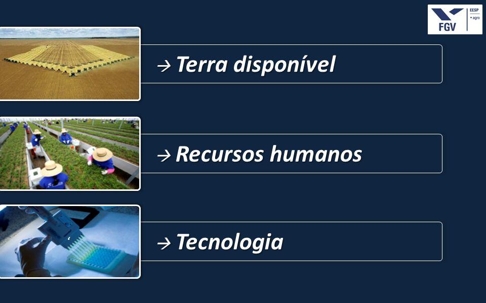  Terra disponível  Recursos humanos '  Tecnologia