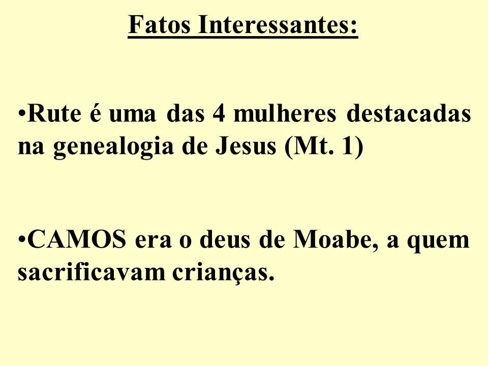 Fatos Interessantes:Rute é uma das 4 mulheres destacadas. na genealogia de Jesus (Mt. 1) CAMOS era o deus de Moabe, a quem.