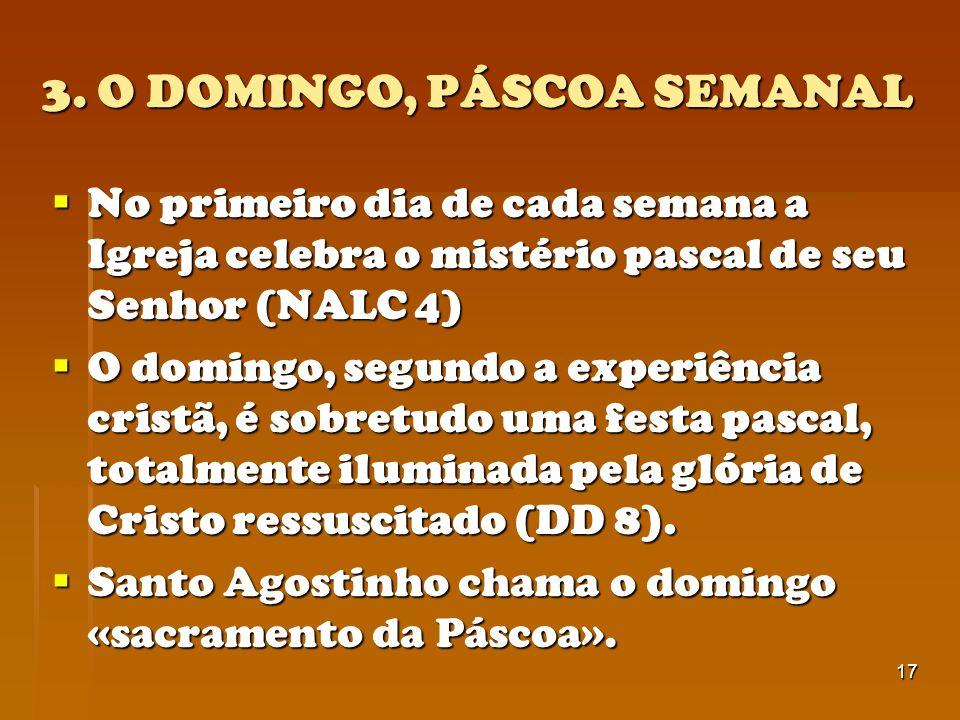 3. O DOMINGO, PÁSCOA SEMANAL