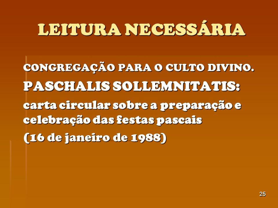 LEITURA NECESSÁRIA CONGREGAÇÃO PARA O CULTO DIVINO.