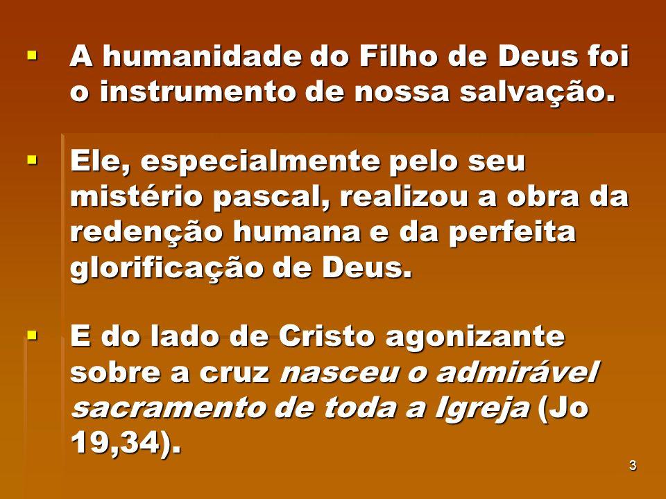 A humanidade do Filho de Deus foi o instrumento de nossa salvação.