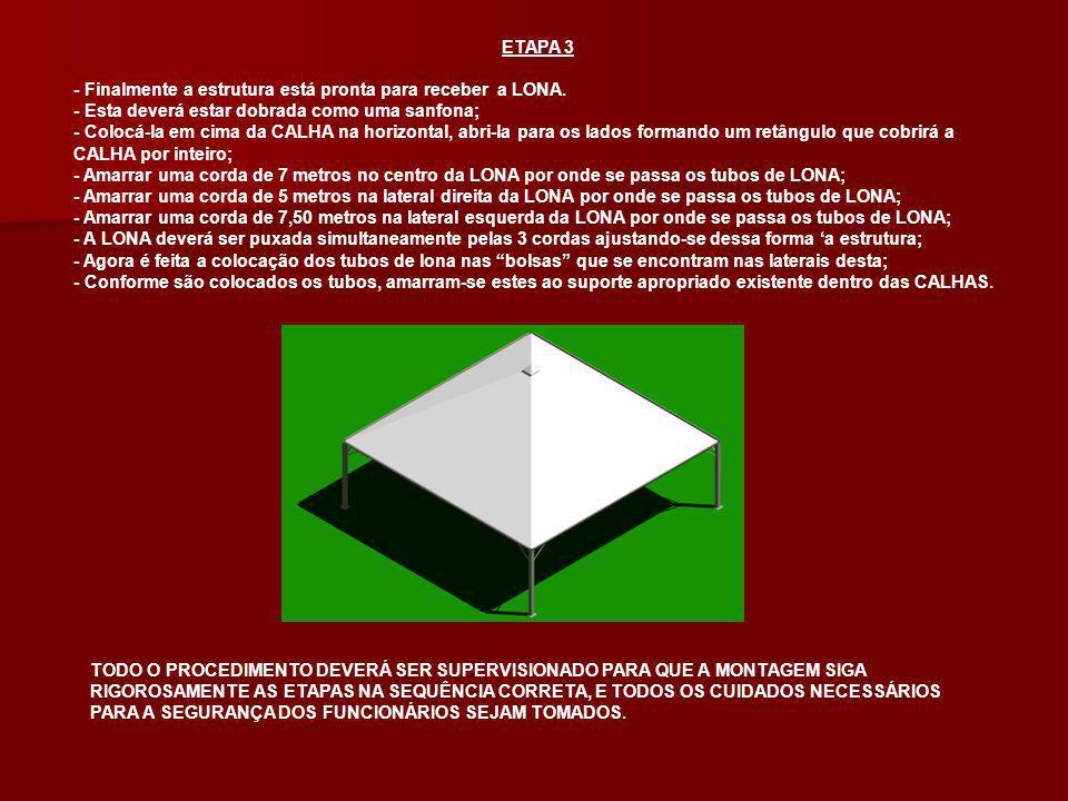ETAPA 3 - Finalmente a estrutura está pronta para receber a LONA. - Esta deverá estar dobrada como uma sanfona;