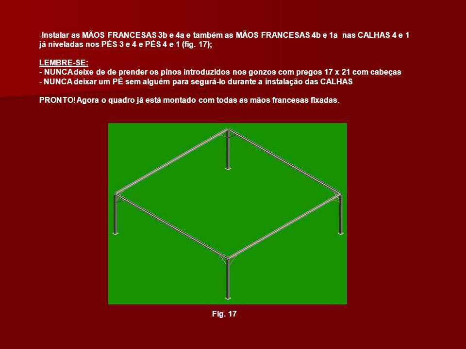 Instalar as MÃOS FRANCESAS 3b e 4a e também as MÃOS FRANCESAS 4b e 1a nas CALHAS 4 e 1 já niveladas nos PÉS 3 e 4 e PÉS 4 e 1 (fig. 17);