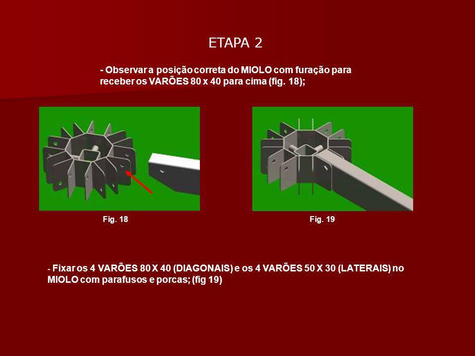 ETAPA 2- Observar a posição correta do MIOLO com furação para receber os VARÕES 80 x 40 para cima (fig. 18);