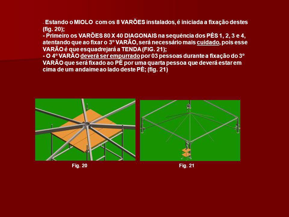 - Estando o MIOLO com os 8 VARÕES instalados, é iniciada a fixação destes (fig. 20);