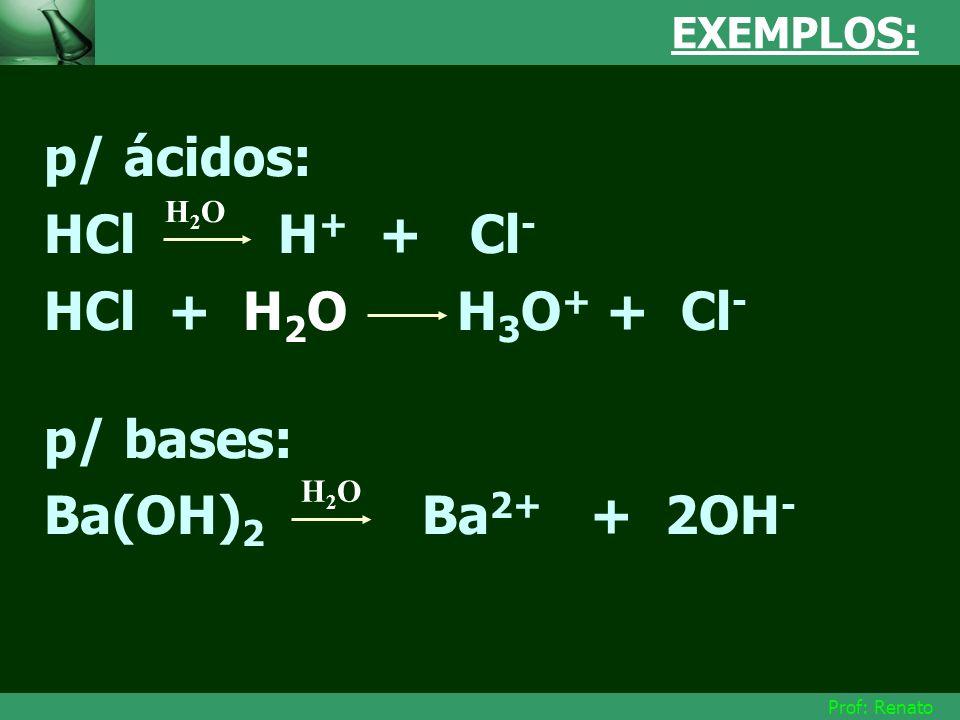 p/ ácidos: HCl H+ + Cl- HCl + H2O H3O+ + Cl- p/ bases:
