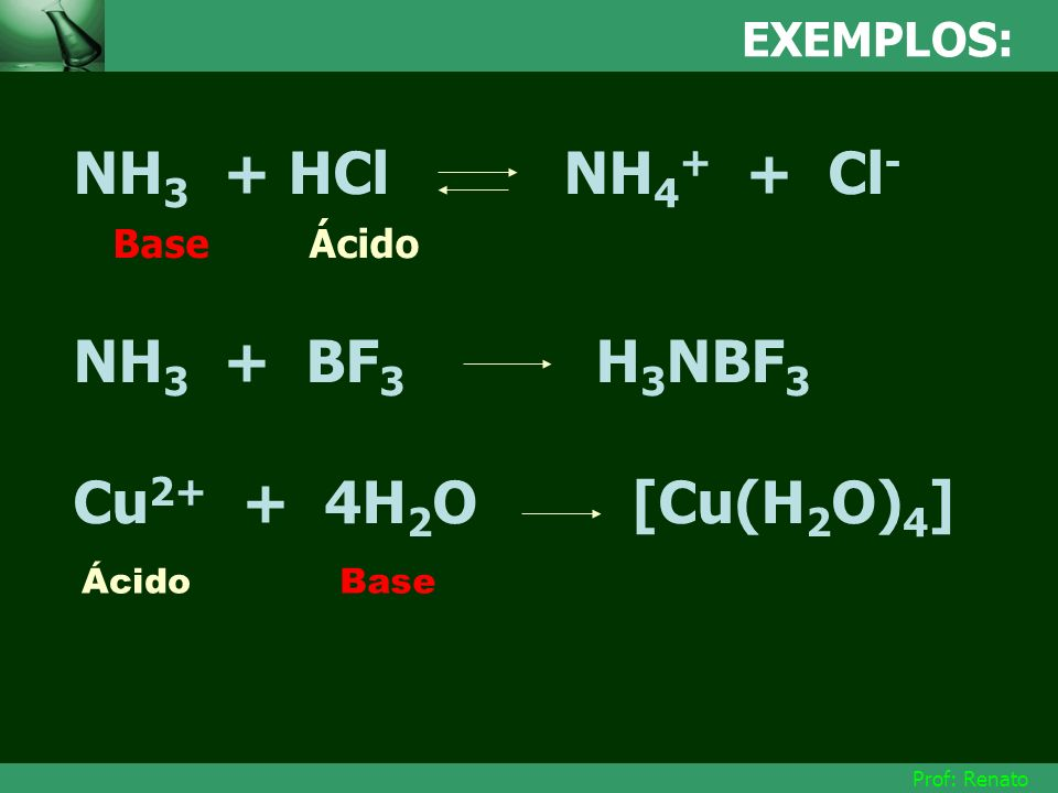 NH3 + HCl NH4+ + Cl- Base Ácido NH3 + BF3 H3NBF3