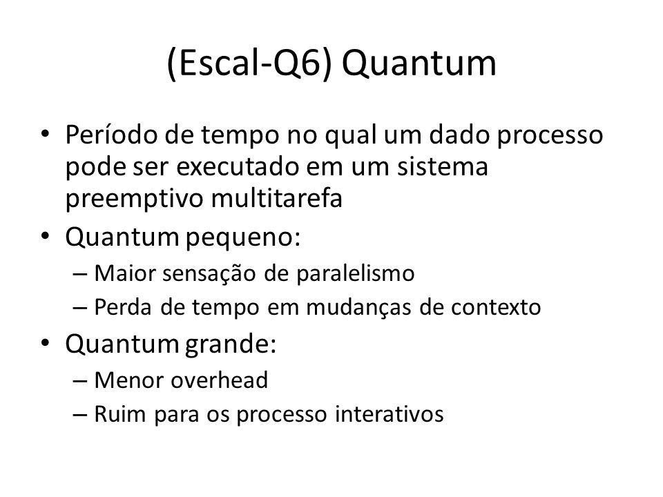 (Escal-Q6) Quantum Período de tempo no qual um dado processo pode ser executado em um sistema preemptivo multitarefa.