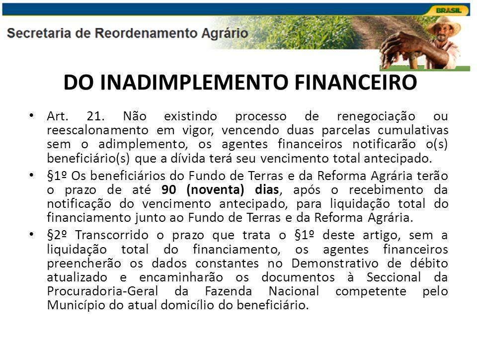 DO INADIMPLEMENTO FINANCEIRO