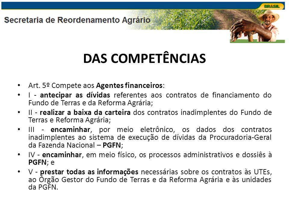 DAS COMPETÊNCIAS Art. 5º Compete aos Agentes financeiros: