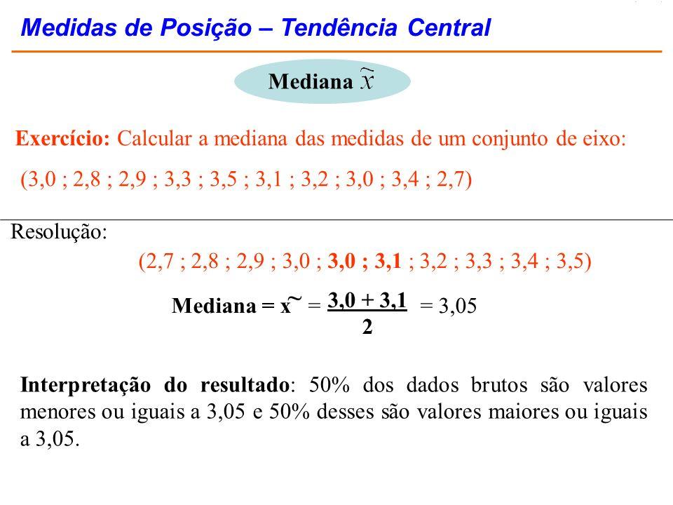 ~ Medidas de Posição – Tendência Central Mediana