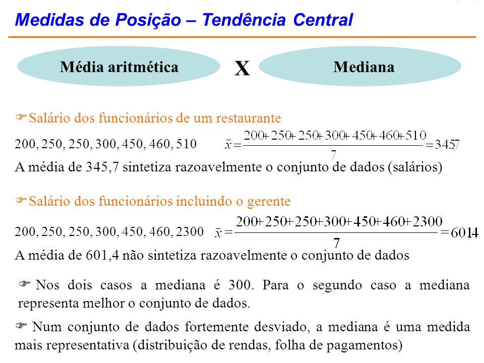 X Medidas de Posição – Tendência Central Média aritmética Mediana