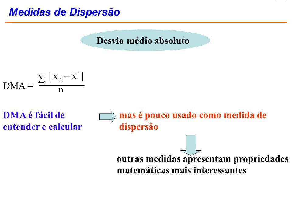 Medidas de Dispersão Desvio médio absoluto  DMA = | x i – x | n