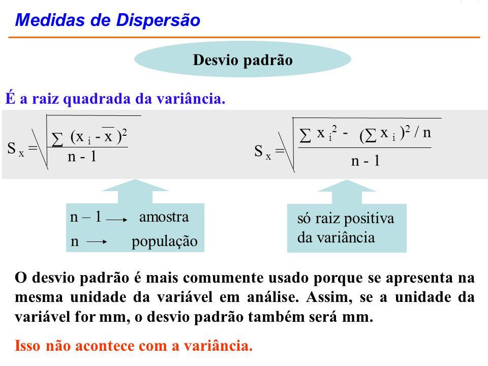 Medidas de Dispersão Desvio padrão É a raiz quadrada da variância.
