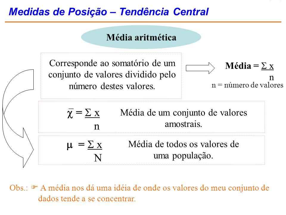  =  x n  =  x N Medidas de Posição – Tendência Central