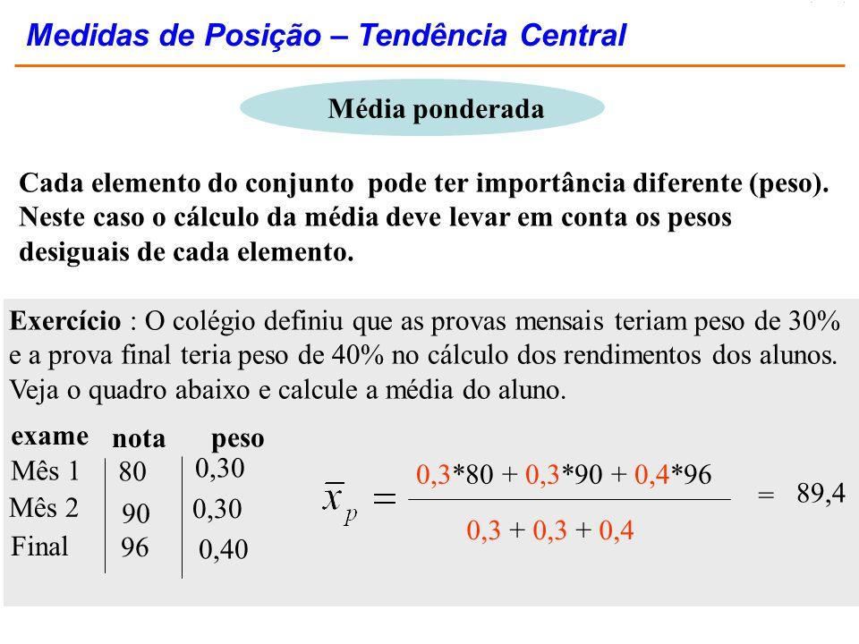 Medidas de Posição – Tendência Central
