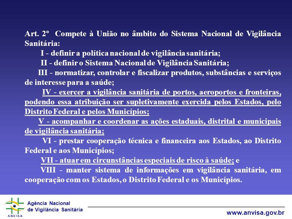 Art. 2º Compete à União no âmbito do Sistema Nacional de Vigilância Sanitária:
