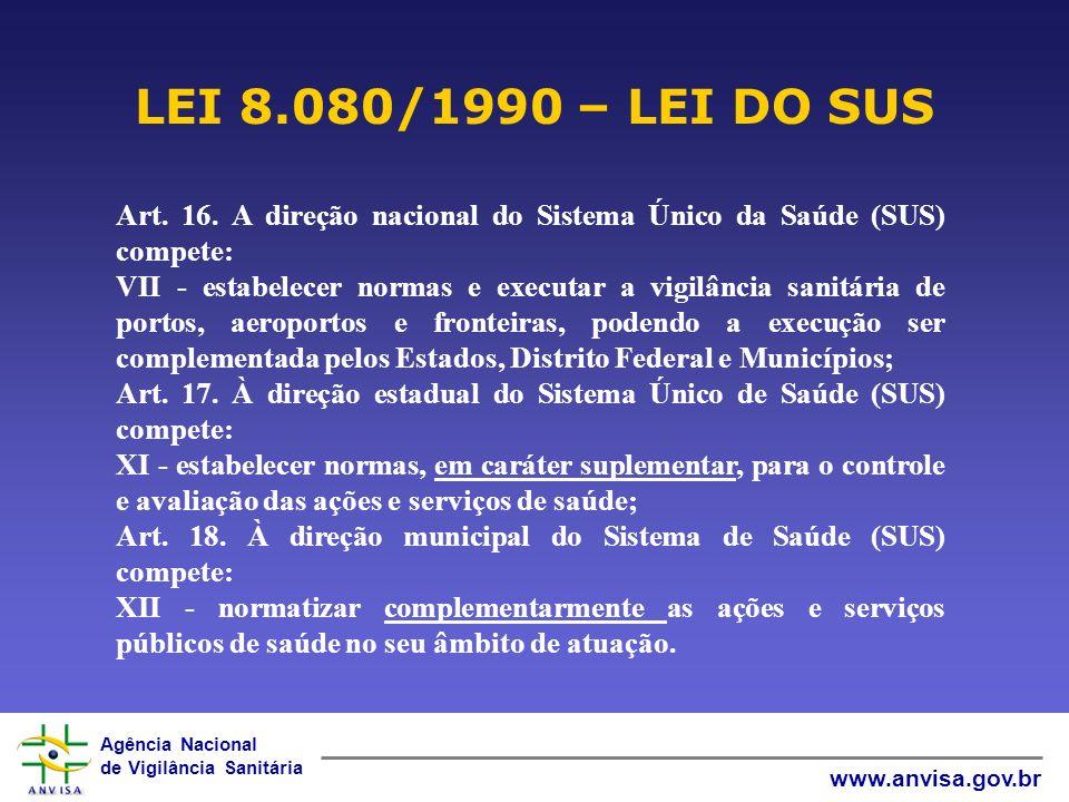 LEI 8.080/1990 – LEI DO SUS Art. 16. A direção nacional do Sistema Único da Saúde (SUS) compete: