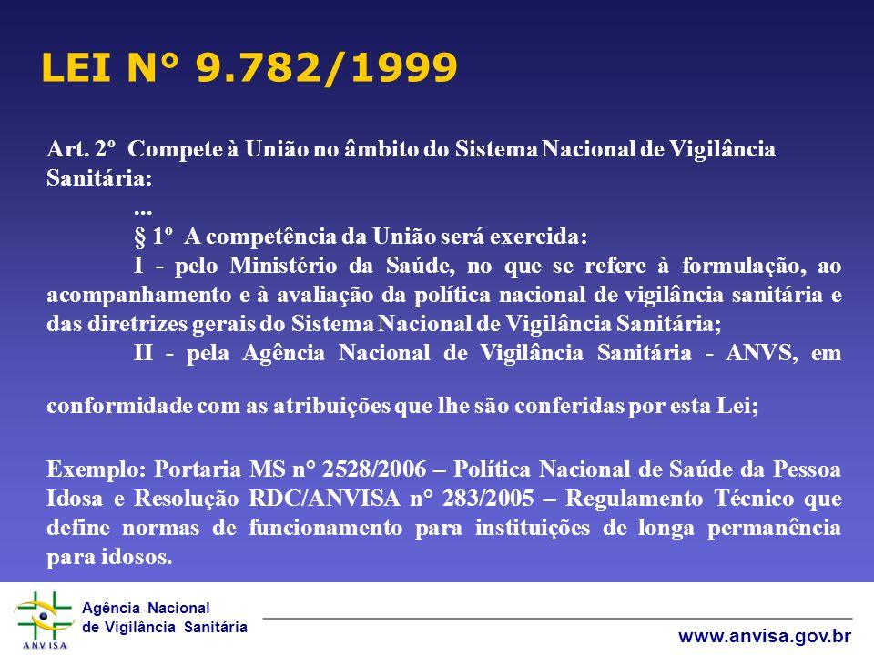 LEI N° 9.782/1999 Art. 2º Compete à União no âmbito do Sistema Nacional de Vigilância Sanitária: ...