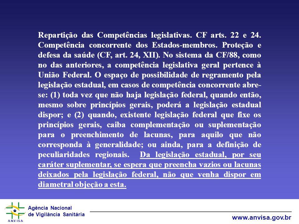 Repartição das Competências legislativas. CF arts. 22 e 24