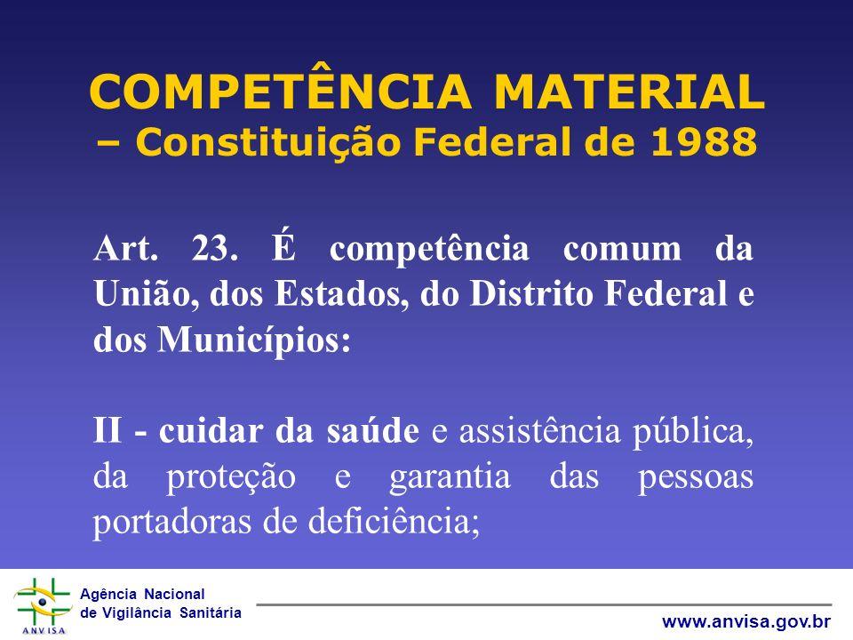 COMPETÊNCIA MATERIAL – Constituição Federal de 1988