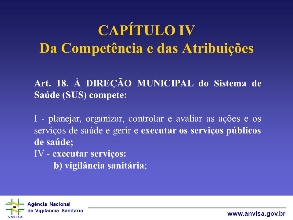 CAPÍTULO IV Da Competência e das Atribuições