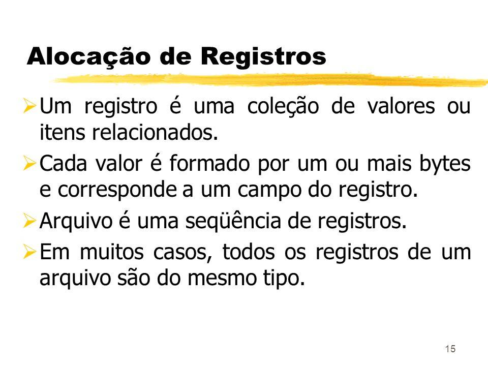 Alocação de Registros Um registro é uma coleção de valores ou itens relacionados.