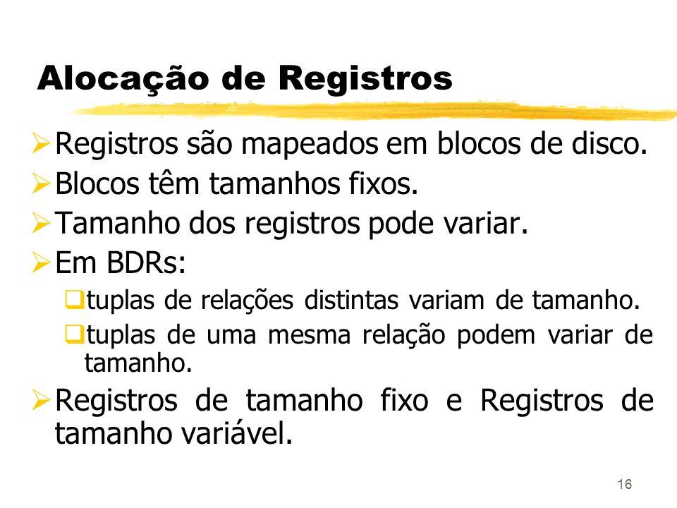 Alocação de Registros Registros são mapeados em blocos de disco.