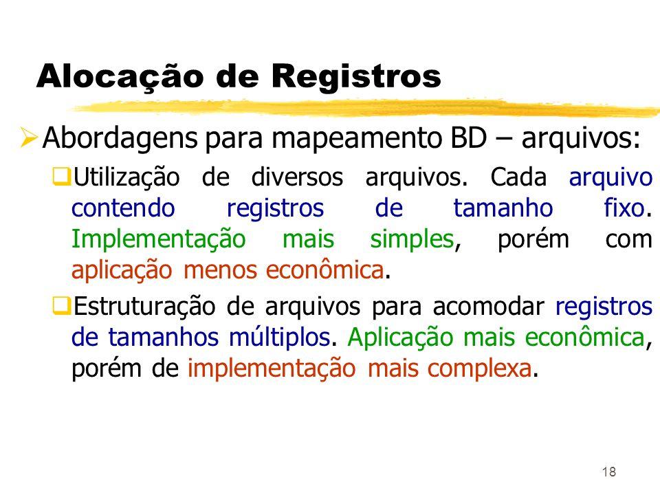 Alocação de Registros Abordagens para mapeamento BD – arquivos: