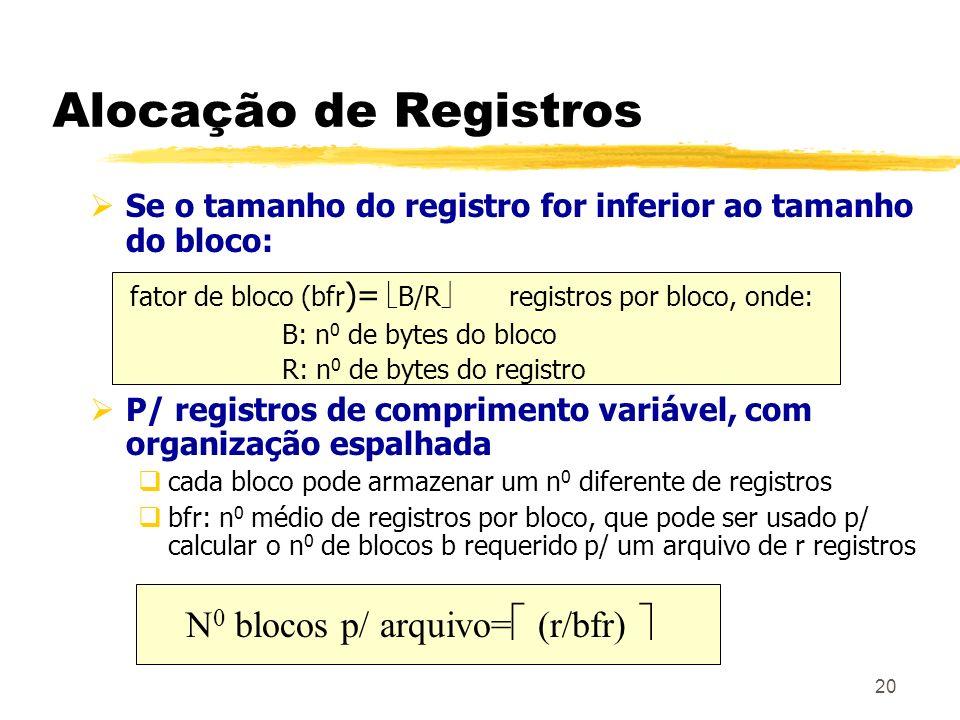 Alocação de Registros Se o tamanho do registro for inferior ao tamanho do bloco: fator de bloco (bfr)= B/R registros por bloco, onde: