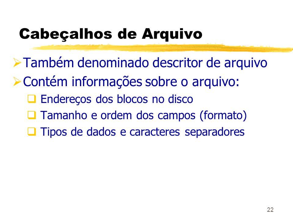 Cabeçalhos de Arquivo Também denominado descritor de arquivo