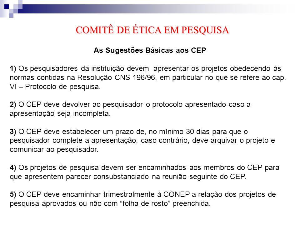 As Sugestões Básicas aos CEP
