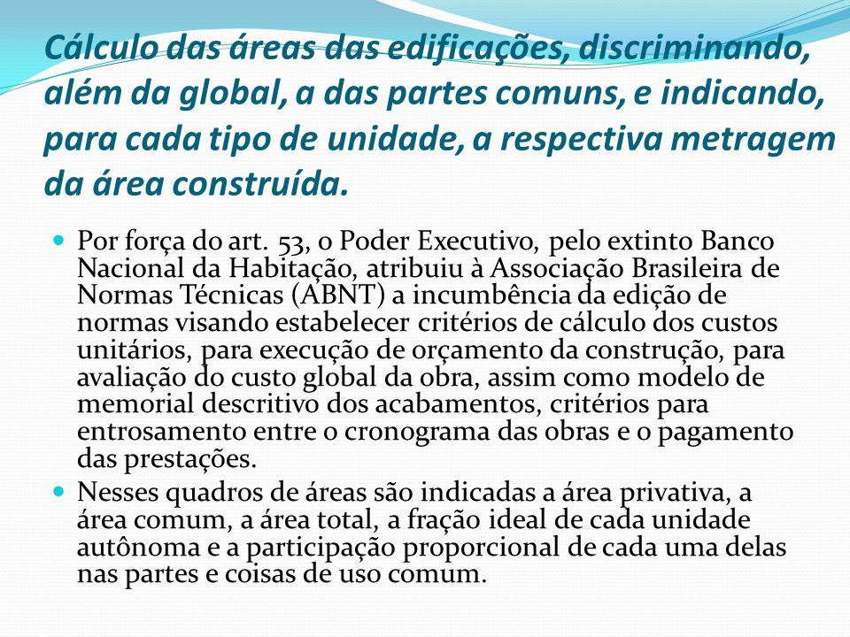 Cálculo das áreas das edificações, discriminando, além da global, a das partes comuns, e indicando, para cada tipo de unidade, a respectiva metragem da área construída.