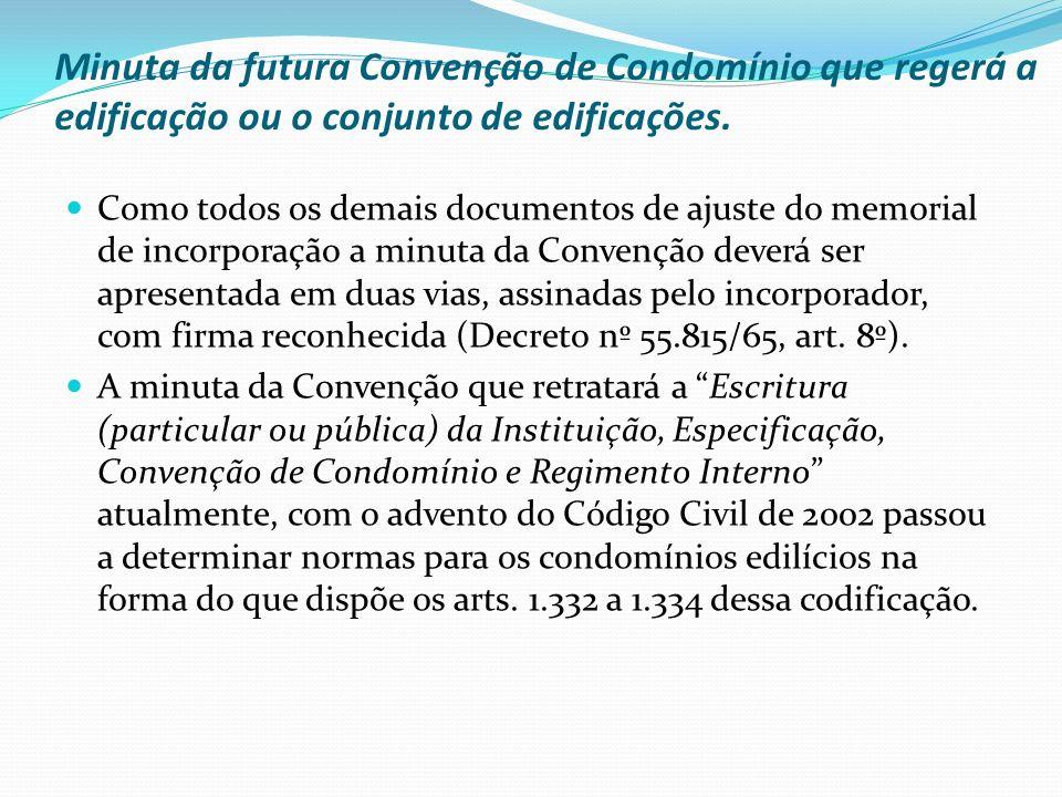 Minuta da futura Convenção de Condomínio que regerá a edificação ou o conjunto de edificações.