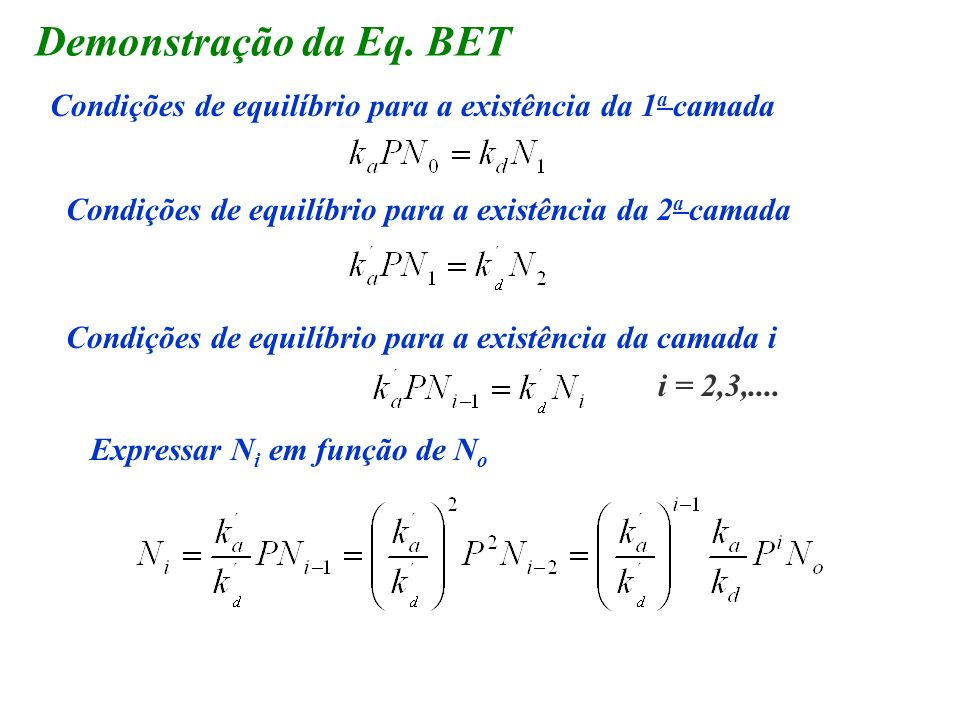 Demonstração da Eq. BETCondições de equilíbrio para a existência da 1a camada. Condições de equilíbrio para a existência da 2a camada.